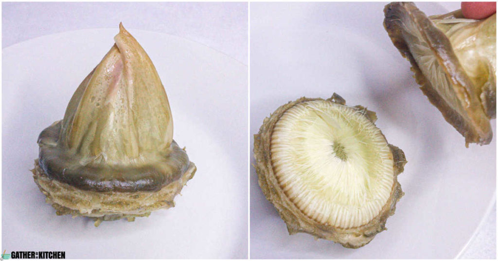 Collage of images - left image is the inside of an artichoke with the triangle at the top and ready to be pulled off.  Image on right is the top being pulled off, showing the hairs on the artichoke.