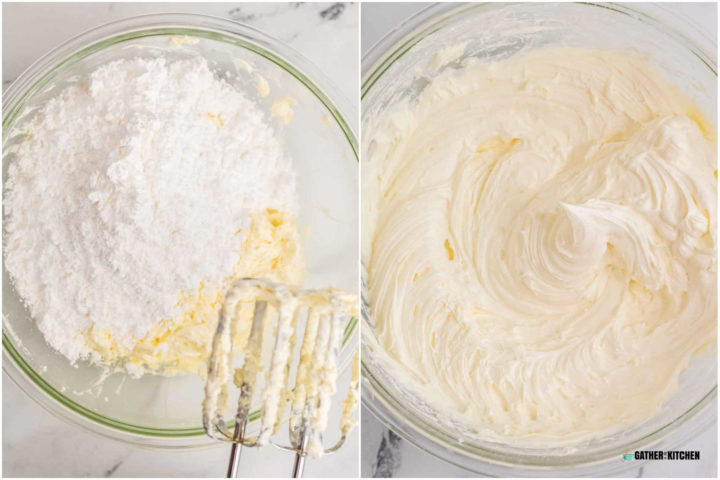 Image collage - left side powdered sugar on top of icing mixture, right side powdered sugar mixed in.