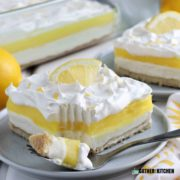 Slice of lemon lush on a plate.
