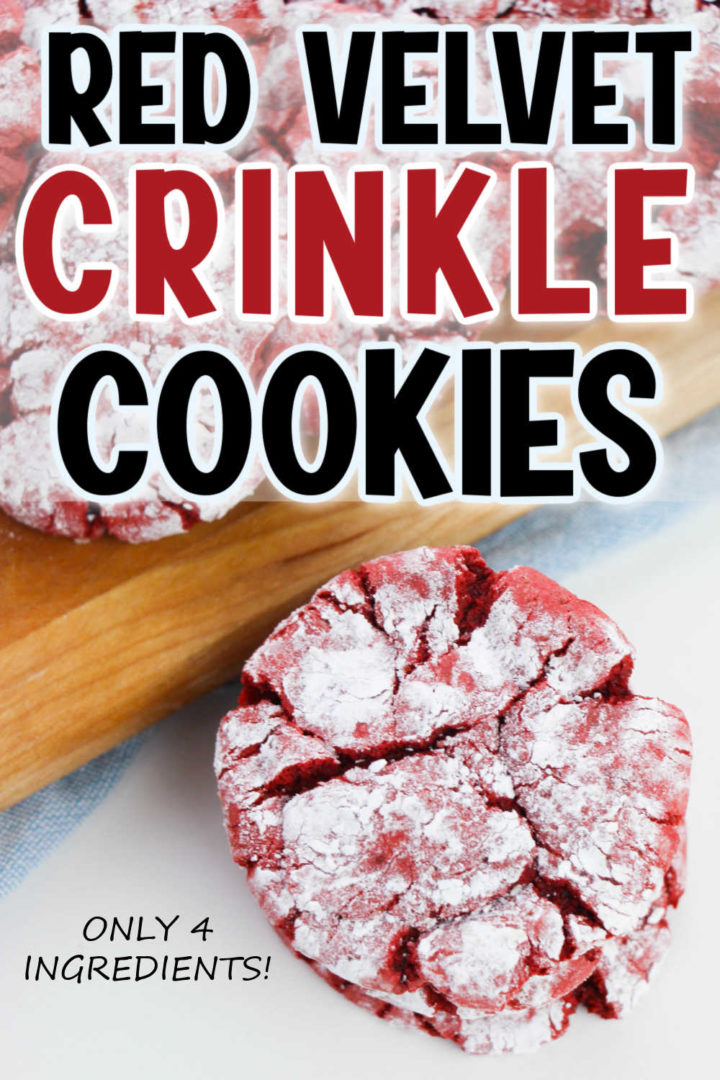 """Top says """"Red Velvet Crinkle Cookies"""" and has a picture of a single cookie resting against a cutting board."""