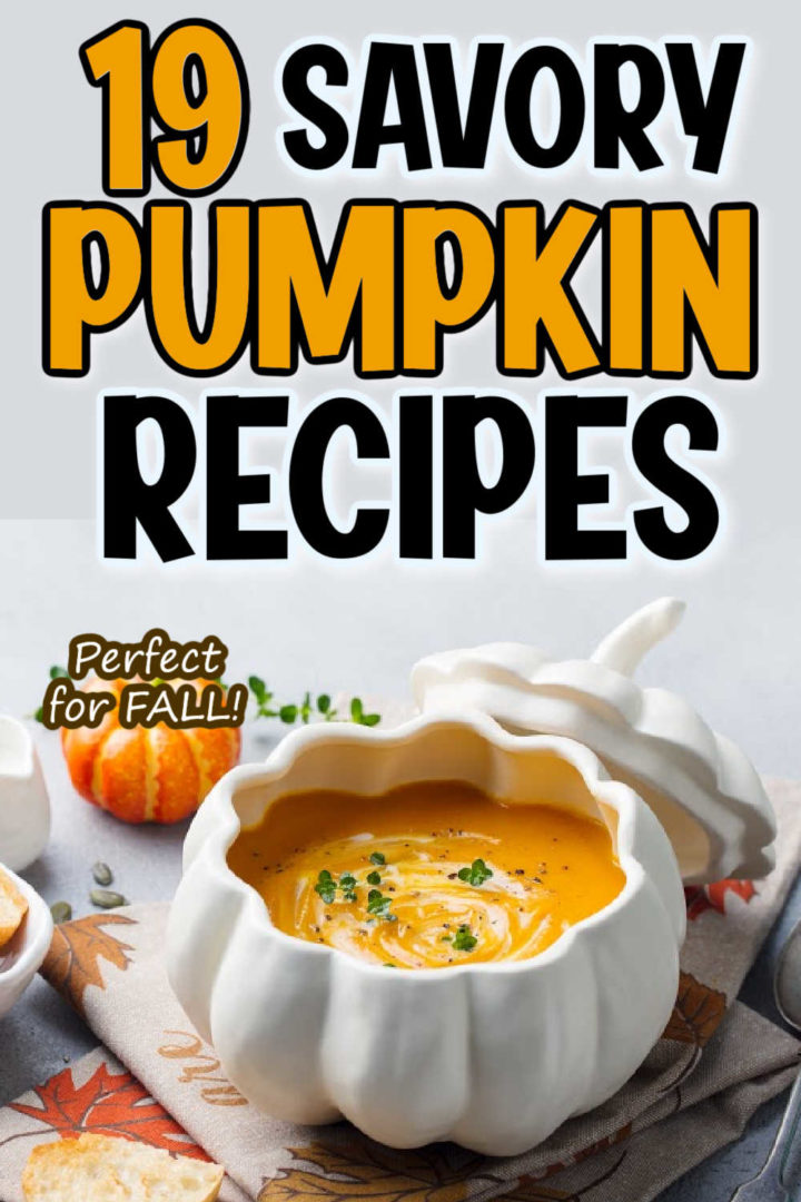 """a pumpkin bowl with pumpkin soup with the words """"19 savory pumpkin recipes, perfect for FALL!"""" overlaid."""