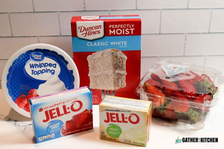 Strawberry poke cake ingredients.