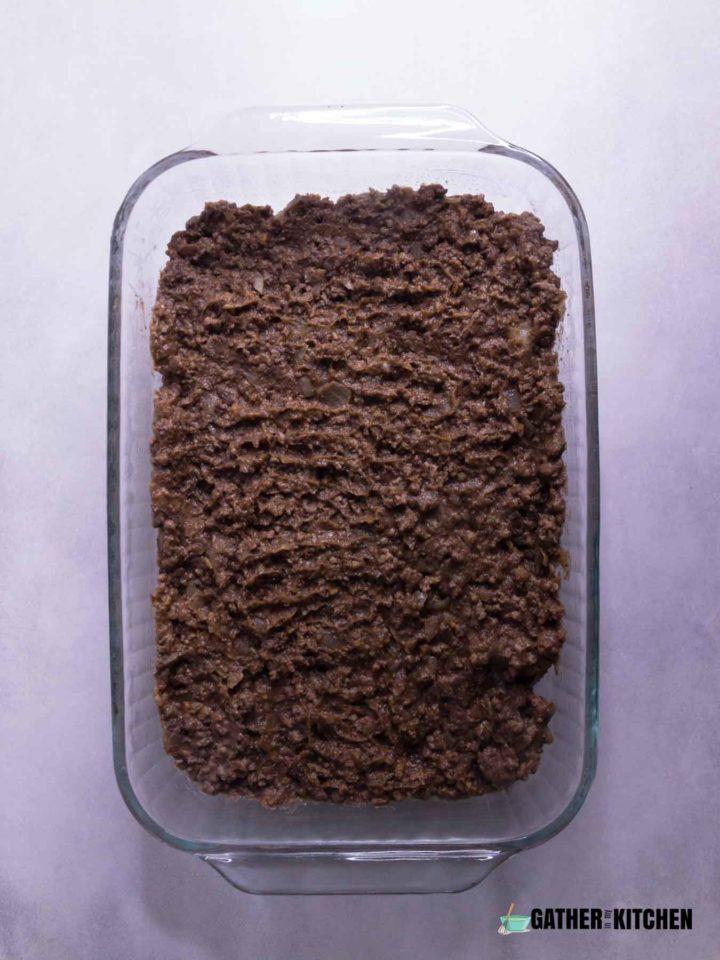 Ground Beef Mixture on Bottom of Casserole Dish.