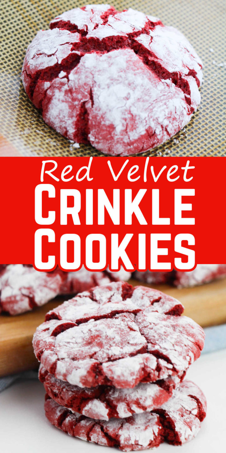 """Pin image - top closeup of a baked red velvet crinkle cookie on the cookie sheet, middle says """"Red velvet crinkle cookie"""" and bottom has a picture of a stack of red velvet crinkle cookies."""