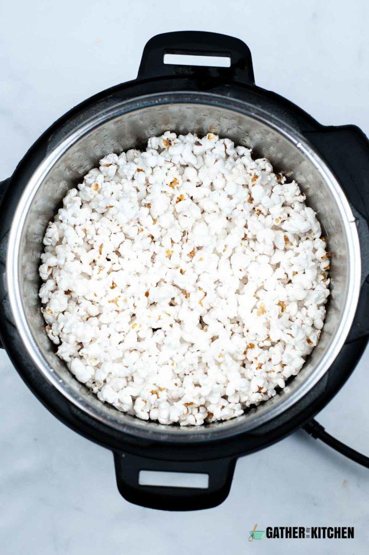 Instant Pot full of popped popcorn.