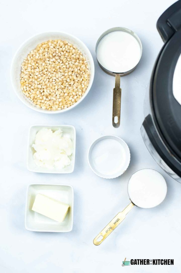 Caramel popcorn ingredients.
